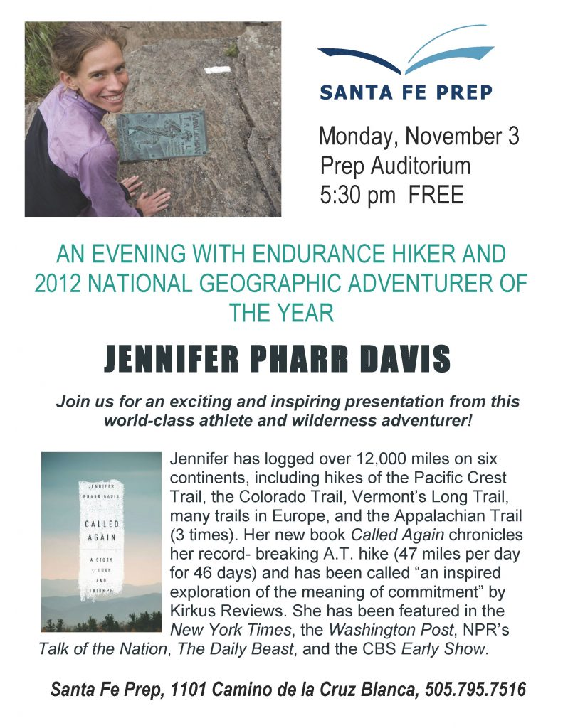 An Evening with Jennifer Pharr Davis @ Santa Fe Prep Auditorium | Santa Fe | New Mexico | United States